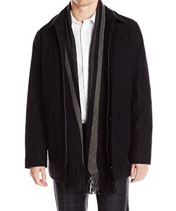 美亚降至新低!Calvin Klein 男士带围巾羊毛大衣