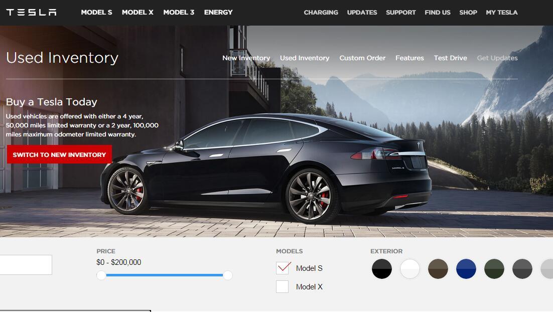 美国特斯拉Tesla 官网二手车Model S/Model X 特卖