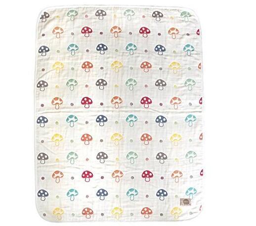 日亚直邮海外购!Hoppetta 日本6重纱婴幼儿蘑菇印花盖毯