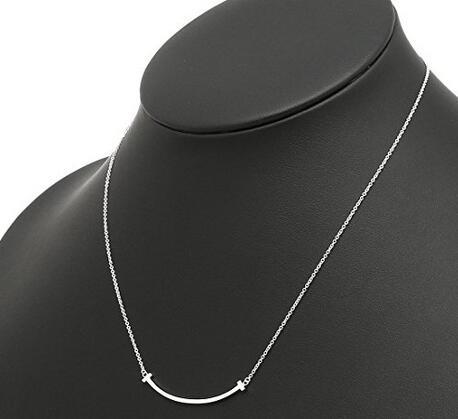 直接下单7折!Tiffany&Co 蒂芙尼T系列纯银微笑吊坠项连