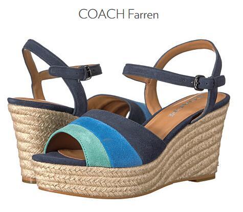 6PM海淘COACH!COACH 蔻驰 Farren 女士真皮坡跟凉鞋