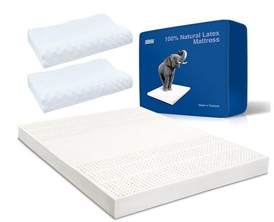 Prime会员5折!TAIPATEX 泰国进口天然乳胶床垫*1+乳胶枕*2