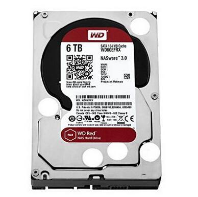 金盒特价!WD 西部数据 WD60EFRX 6TB SATA3 红盘 NAS专用硬盘