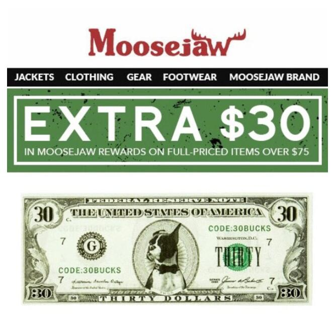 Moosejaw最新优惠码!户外装备站Moosejaw满75刀送30刀礼品卡